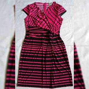 Danny & Nicole Black/ Pink Striped Dress Size M